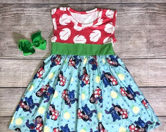 217b755236 Lilo and Stitch Sleeveless Tank-Style Disney Character-Inspired Dress Blue  Red Green Girls Outfit