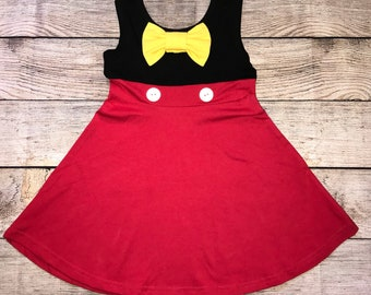 5711b1103 Mickey Mouse Sleeveless Character Disney Inspired Dress Red Black Yellow  Bow Girls Outfit Fab 5 Five White Buttons