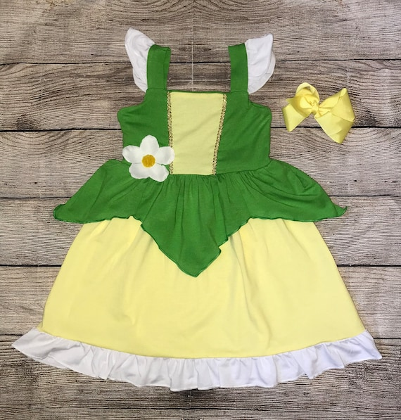 Princess Tiana Sleeveless Disney Character Inspired Dress Prince Naveen Frog Kiss Green Yellow Girls Outfit