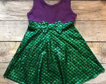 Ariel Princess Sleeveless Disney Character Inspired Dress Purple Green Scale Mermaid Bow Girls Outfit the Little Mermaid