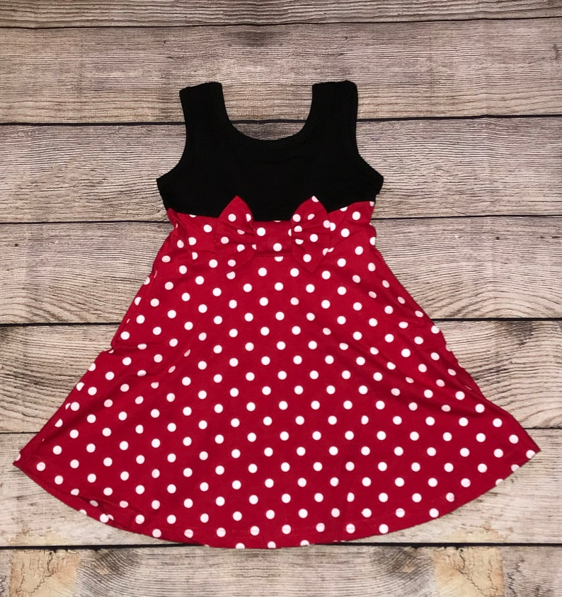 Minnie Mouse Sleeveless Character Disney Inspired Dress Red Black White Bow Girls Outfit Mickey Fab 5 Five