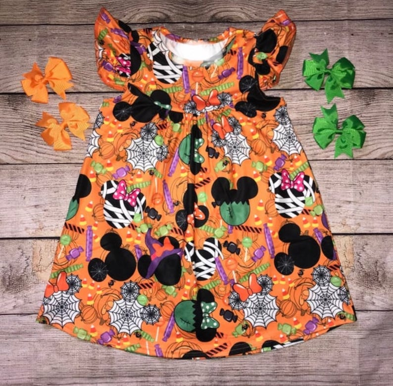 Mickey Mouse Minnie Halloween Disney Character Inspired Dress Not So Scary Party Orange Flutter Sleeve Mummy Bow Witch