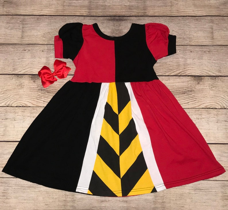 Queen Of Hearts Puff Sleeves Disney Character Inspired Dress Villain Alice In Wonderland Black Yellow Red Girls Outfit Not So Scary