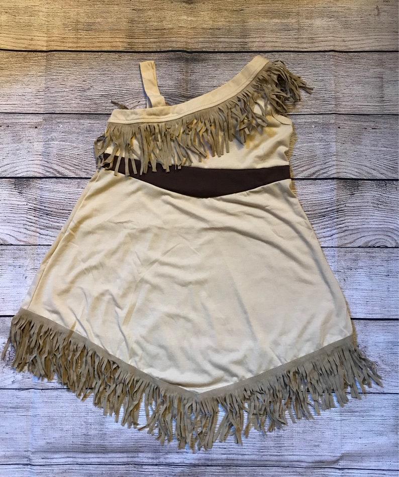 Pocahontas Sleeveless Disney Princess Character Inspired Dress Brown Fringe Girls Outfit