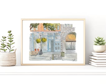 Restaurant Illustration Watercolor Painting Urban Sketch | Etsy