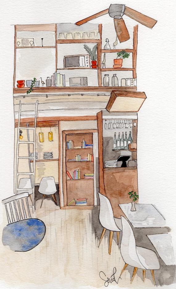print watercolor café illustration williamsburg brooklyn new etsy