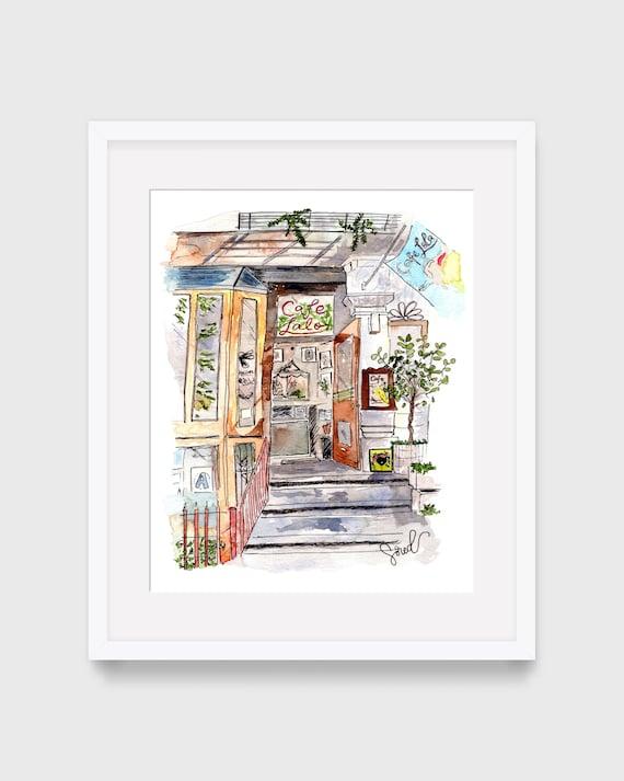 Cafe Lalo Ilustración de You've Got Mail, Arte de pared imprimible, Decoración del hogar, Acuarela Urban Sketching de la ciudad de Nueva York