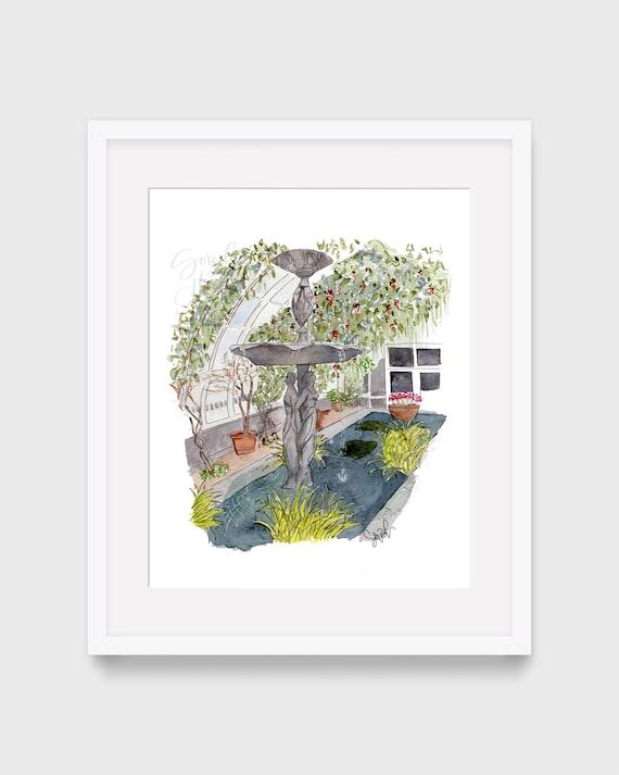 Impresión de acuarela, Jardín botánico, Arte de pared imprimible, Boceto urbano de la ciudad de Nueva York, Destino turístico, Decoración del hogar