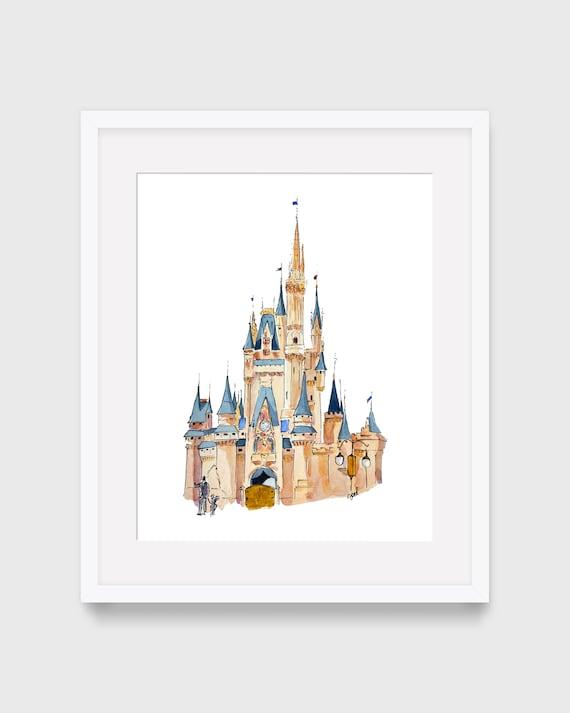 Disney Castle acuarela, arte de pared imprimible, decoración del hogar, acuarela Disney World, Disney Land, decoración de los niños, niños