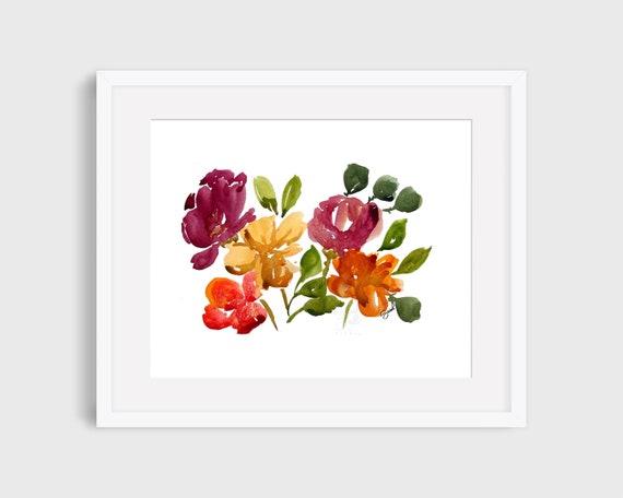 Flores de acuarela, flores coloridas, impresión de arte de acuarela, pintura de flores, regalo de aniversario, flores, arte de la pared, decoración del hogar, regalo de cumpleaños