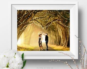 Custom Portrait / Whimsical Photo / Romantic Photography / Love Scene / Engagement Wedding Gifts / Heart / Trees / Wall Art / Fairy Lights