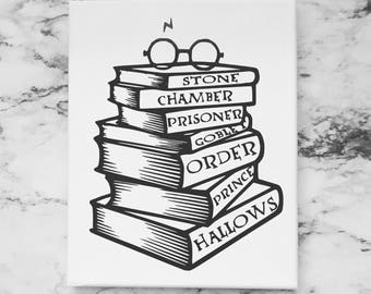 Harry Potter Book Stack 8x10 Canvas Art