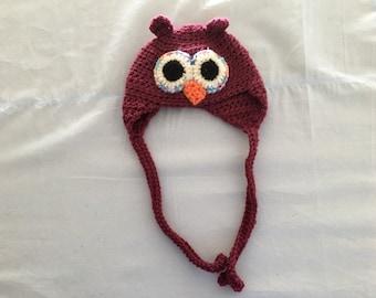Handmade owl earflap hat.