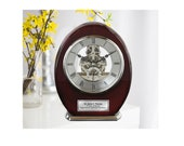Engraved Oval Beacon Desk Table Clock Wood Silver Davinci Clock Retirement Service Award Recognition Birthday Gifts mechanical gear clock