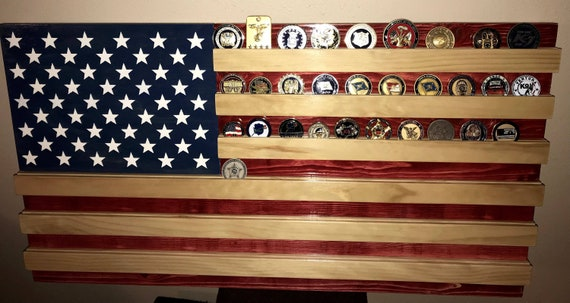 Challenge Coin Holder- American Flag- Military- Police- Wood Flag- Wall  Hanging- Gift