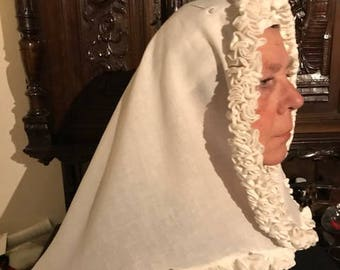 Medieval womens wimple cold kruseler or frilled veile, made of linnen, 14e and  15e century  living history