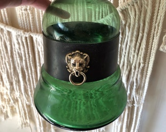 Vintage Green Glass and Leather Bottle