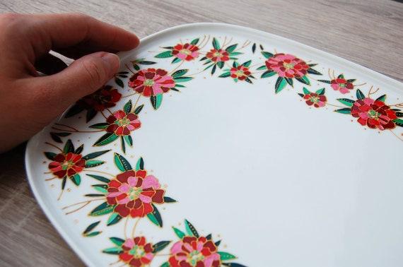 Delft plate  red poppy flower  special gift for mom  great grandma gift  vintageinbloom  mid century modern  parent wedding gift
