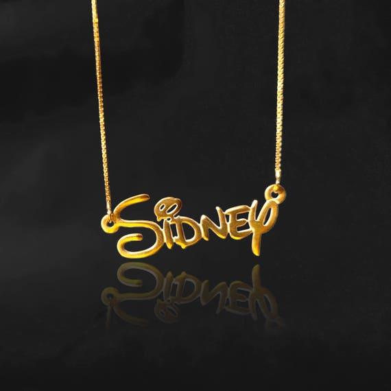 Name locket necklace gold disney locket