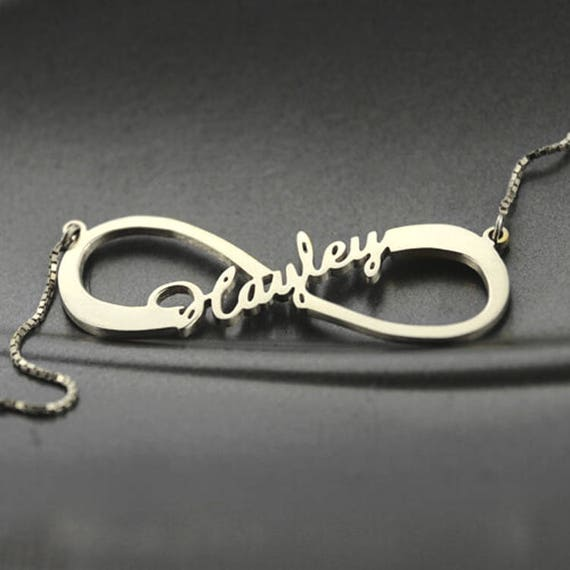 Sterling Silver Infinity Name Necklace Silver Infinity Symbol Etsy
