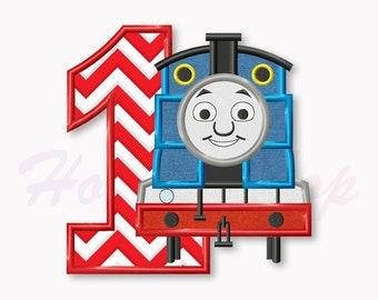 Blue Train First birthday applique embroidery design, Tank Engine Machine Embroidery Design, Embroidery design baby birthday, #013