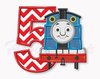 Blue Train Fifth birthday applique embroidery design, Tank Engine Machine Embroidery Design, Embroidery design baby birthday, #017
