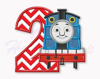 Blue Train Second  birthday applique embroidery design, Tank Engine Machine Embroidery Design, Embroidery design baby birthday, #014