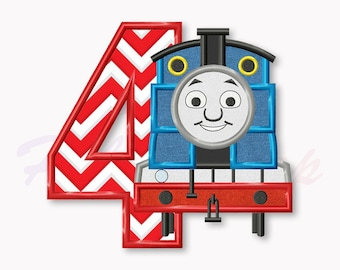 Blue Train Fourth birthday applique embroidery design, Tank Engine Machine Embroidery Design, Embroidery design baby birthday, #016