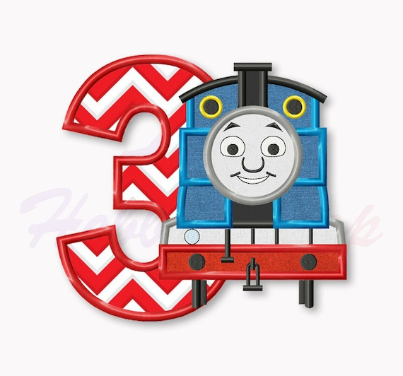 Thomas The Train Third Birthday Applique Embroidery Design Etsy