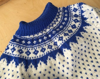 Hand knit Scandinavian style sweater for toddler.