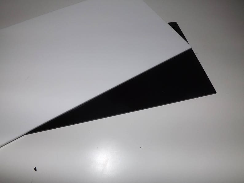 Cut acrylic gloss black and white perspex A6 - A3 cast acrylic pieces cut  to size, black white plastic panels cut to size