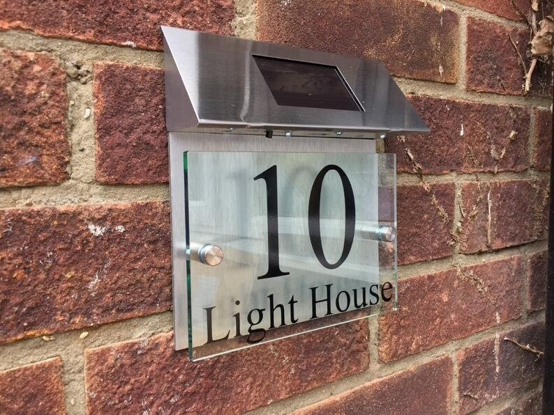 Modern House Sign plaque door number street glass aluminium effect led solar light