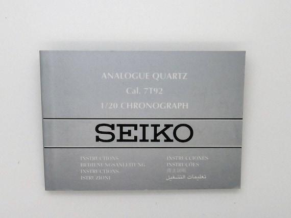 Seiko Cal 7t92 120 Chronograph Instructions Manual Etsy