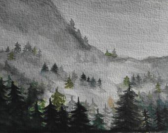 Postcard Mountain Landscape-10.5 x 14.8 cm/4.1 x 5.8 inch-handmade original watercolor-Watercolour drawing-Postcard