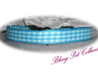 Blue Gingham Safety Breakaway Cat Collar and Bell