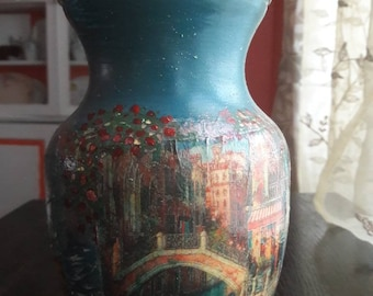 Painted blue glass vase.