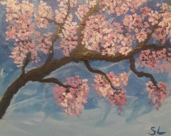 Impressionist painting of a cherry blossom tree