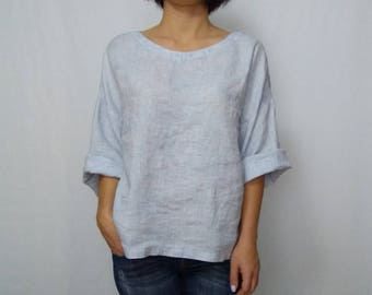 71303be92f1 Womens linen blouse blue melange linen top Round Neck loose T-shirt long  sleeves Linen Shirt