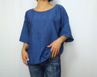 bafd6a03d40 Womens linen blue melange shirts blue linen top loose T-shirt wide short  sleeves