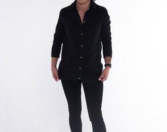 33de6d430a Classic black linen shirt with buttons pockets linen shirt for women elegant  blouse