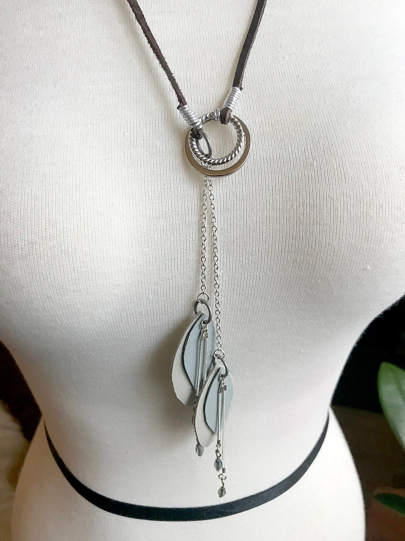 Light Blue and Silver Light Gray Leaf and Chain with Bead Accents Handmade Leather and Metal Lariat Necklace