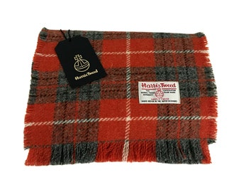 Orange and Grey Tartan Check Harris Tweed Luxury Fringed Scarf - Pure New  Wool 50f84a2e8ea