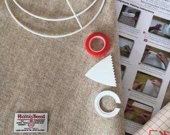 Harris Tweed Lampshade Kit, EU / UK or US / Harp Fitting, 20cm, 25cm, 30cm, Make Your Own Lampshade - Harris Tweed Fabric, Oatmeal