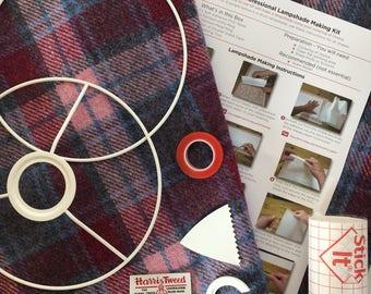 Harris Tweed Lampshade Kit, EU / UK or US / Harp Fitting, 20cm, 25cm, 30cm, Make Your Own Lampshade - Crimson Red/Pale Pink Tartan