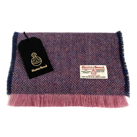 Harris Tweed Luxury Fringed Scarf Lilac and Blue   Pink   Etsy a0f544aae70