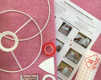 Harris Tweed Lampshade Kit, EU / UK or US / Harp Fitting, 20cm, 25cm, 30cm, Make Your Own Lampshade - With Harris Tweed Fabric, Pale Pink