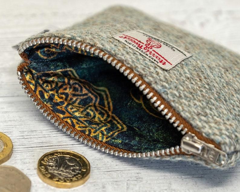 Sage Green Barleycorn Harris Tweed Coin Purse with Cotton Celtic Circles Lining and Metal YKK Zip