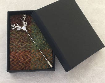 Stags Head Tie Pin, Hat Pin, In An Autumn Plaid Harris Tweed Lined Gift Box, Gift From Scotland, Gift For Her, Gift For Him,