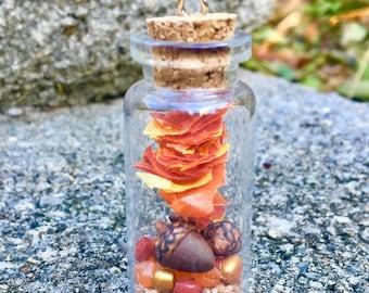 Autumn - Leaves - Acorns - Red, Orange, Gold Bottle Necklace - Pendant Only