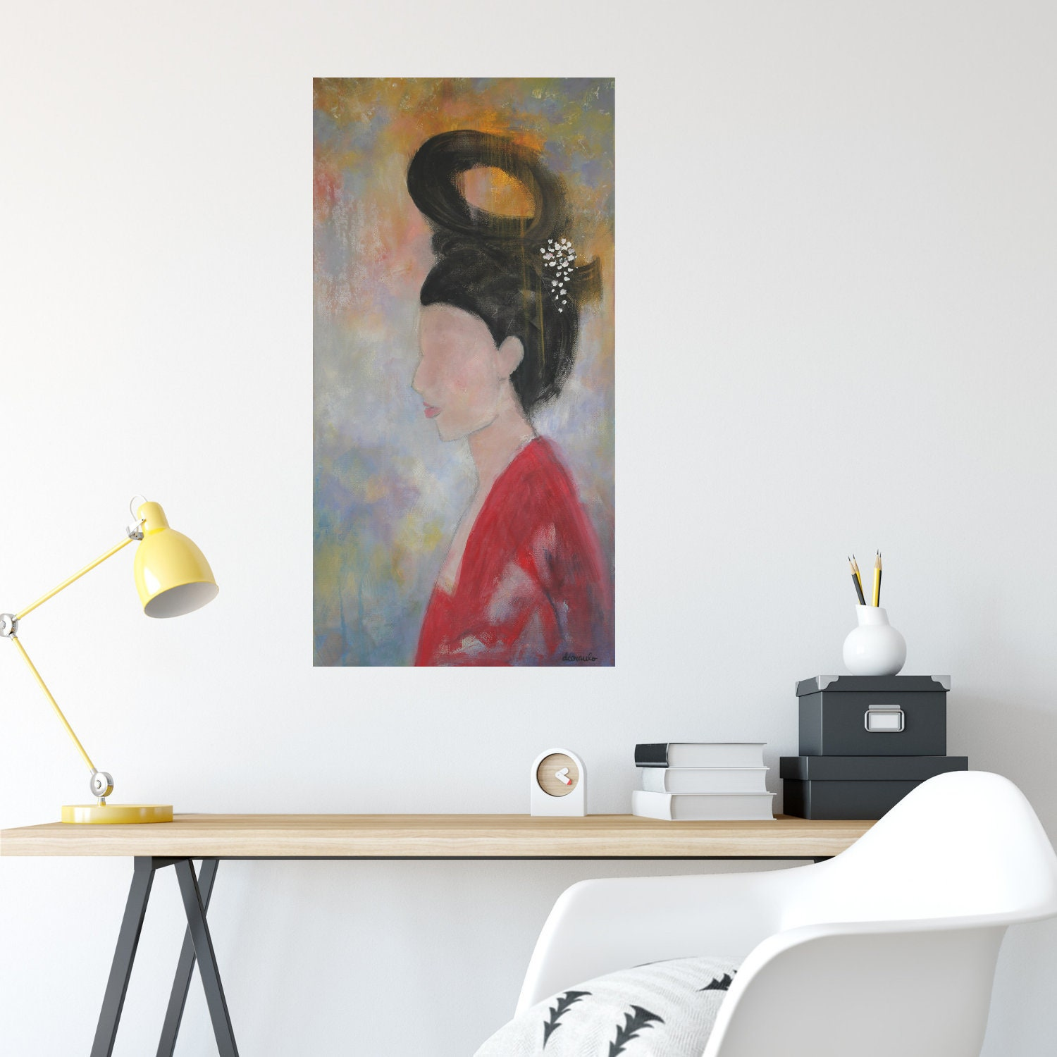 Narrow wall art on canvas original painting abstract portrait female portrait 12x24 original art modern elegant sumiko by donna ceraulo